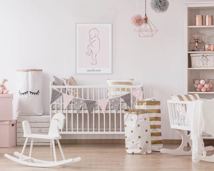 Nursery inspo with our birth art print called 'Rose'  #nurseryroom #nurseryideas #nurserydecor #babyroom #babyroomdecor