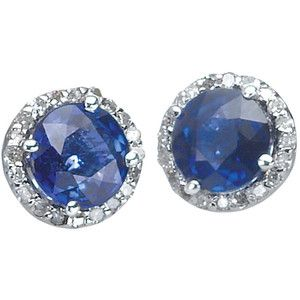 Effy Collection 14k Sapphire And Diamond Earrings In White Gold
