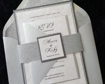 Blush Pink Wedding Invitation Pocket Invitation by LamaWorks