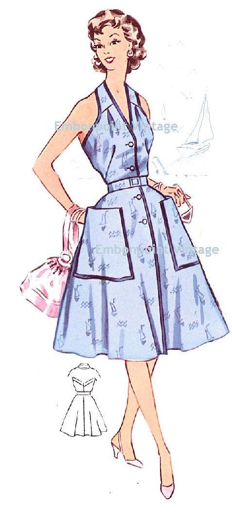 Plus Size (or any size) Vintage 1950s Dress Pattern - PDF - Pattern No 27: Denise. $8.50, via Etsy.