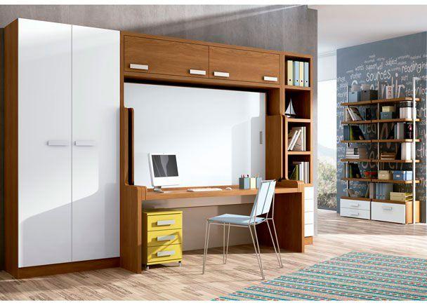 Habitación juvenil con cama-mesa
