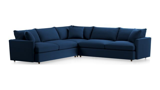 Lounge II Petite 3-Piece Sectional Sofa (Left Arm Sofa, Corner, Right Arm Sofa) shown in View, Navy