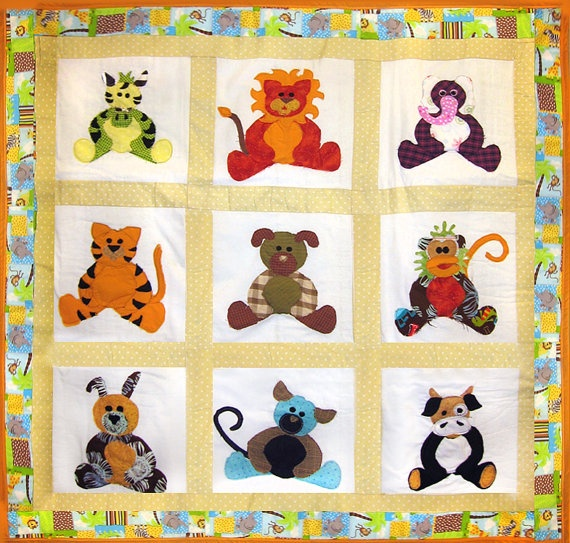 Toddler or baby animal quilt, made to your size. $180.00, via Etsy.