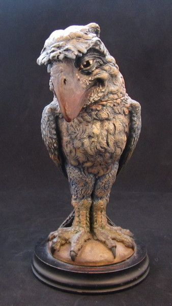 Martin Brothers Tobacco Jar / Wally Bird with detachable head modeled as a grotesque bird. In good unrestored condition with matt glaze, superb quality modelling and a melancholic / sad expression.