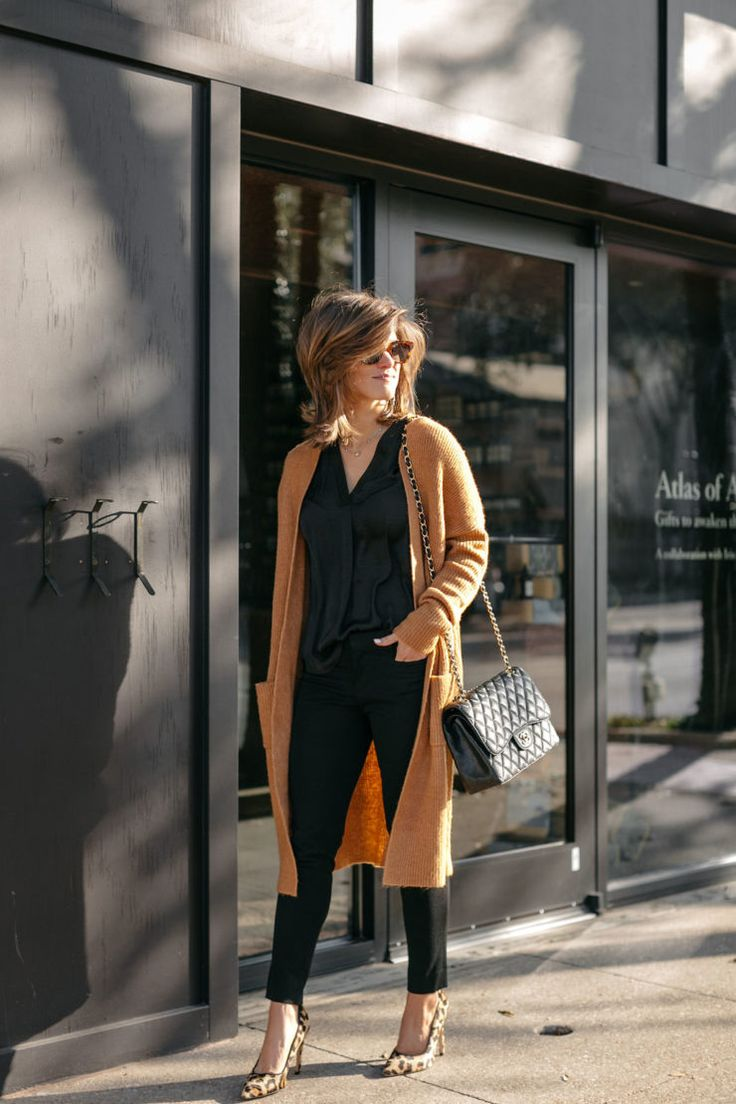 business casual all black outfit long cardigan leopard pumps