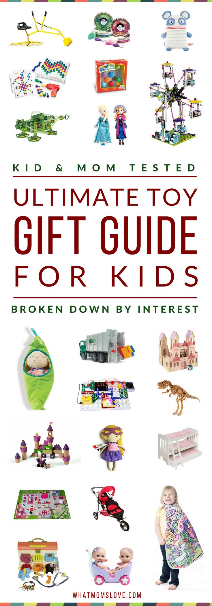 Massive Toy Gift Guide For Kids | Looking for a great gift for your child? Our guides feature only the best products that have been kid-tested & mom approved - the ones they'll return to play with over & over again. Based on interests like: Dolls, Princesses, Car/Trucks, Building, etc. Perfect for toddlers to tweens, girls or boys, for Holidays, birthdays and special occasions. Click for fun present ideas with specific product recommendations, or pin for later | from What Moms Love