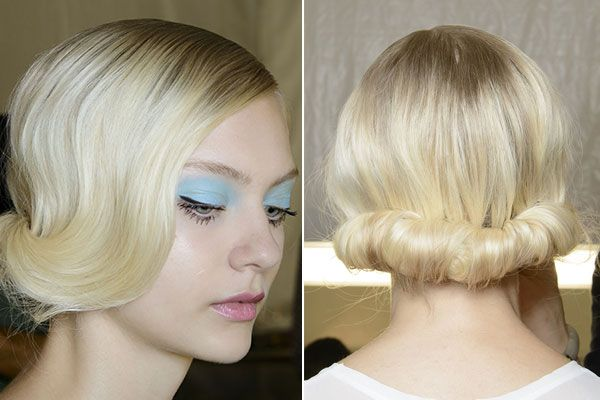 Badgley Mischka (Runway). Bring back the modern chic trends of 60's glam with this easy to do updo. Make the look more dramatic with a few extensions (clip ins usually work best for this look).  www.hairxtensionbar.com