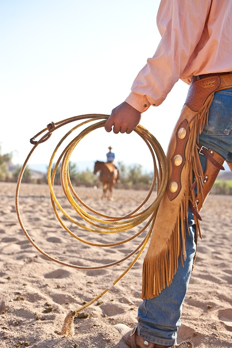Cowboys, chaps and a lariat.