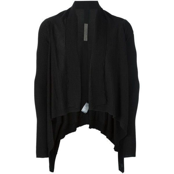 Rick Owens Wool Cardigan ($410) ❤ liked on Polyvore featuring men's fashion, men's clothing, men's sweaters, black, mens shawl collar sweater, mens wool sweaters, mens shawl collar cardigan sweater, mens cardigan sweaters and mens wool shawl collar sweater