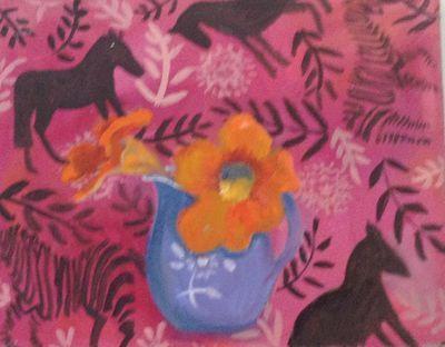 TINA BALMER. Pink, horses, nasturtium