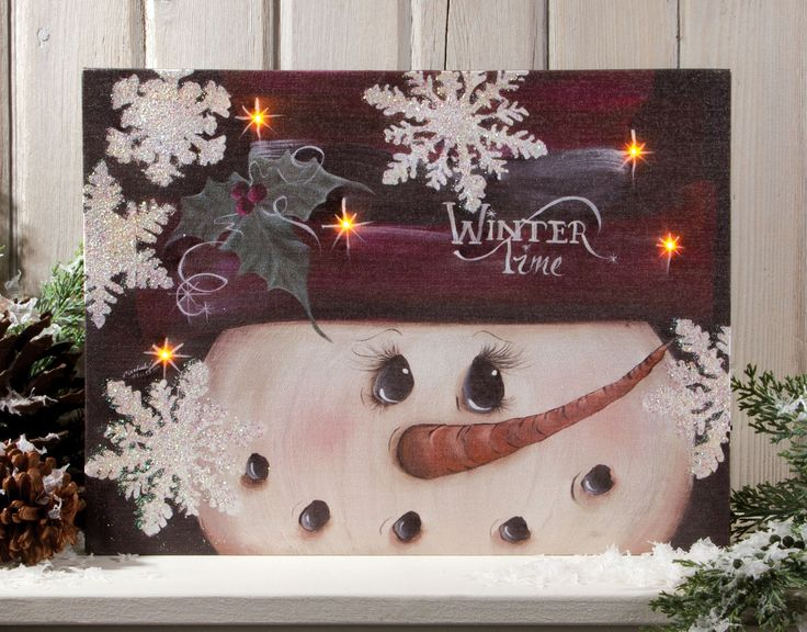 winter time snowman canvas with lights hidden behind the front canvas, On/Off switch on the side of the canvas powers AA batteries that causes the lights to light up and flicker. Shelley B Home and Holiday