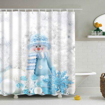 Winter Snowman Print Fabric Waterproof Bath Shower Curtain (GREY WHITE,L) in Bathroom Products | DressLily.com