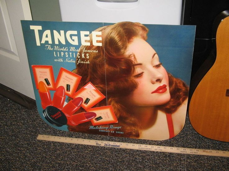 Tangee Lipstick 1940s store display counter sign die-cut redhead pinup girl