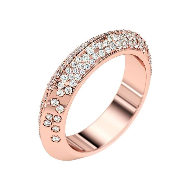 Lizunova Diamond Pave Eternity Rose Gold Ring | From a unique collection of vintage wedding-rings at https://luigi.1stdibs.com/jewelry/rings/wedding-rings/