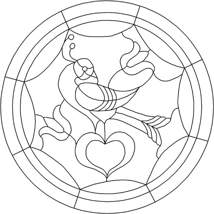 Single Distelfink Pattern - Stained Glass Pennsylvania Dutch