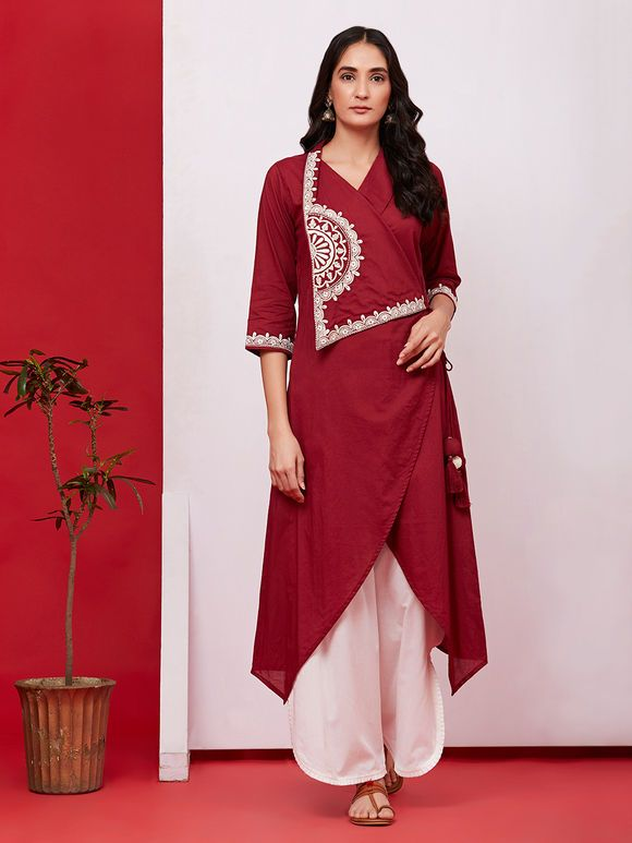 a9d5858de6 Burgundy Hand Embroidered Cotton Asymmetric Kurta with Off White Palazzo -  Set of 2