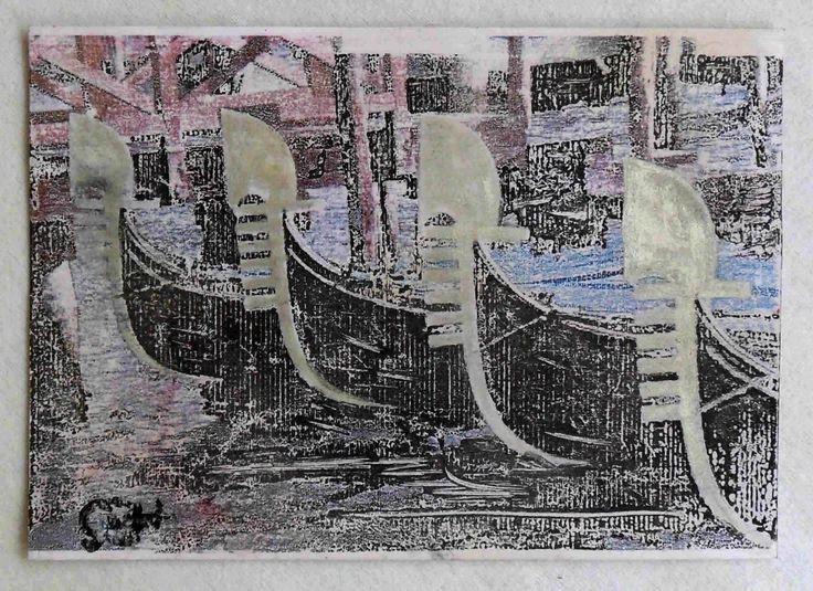 """g.a.zanussi, """"a famous place"""" arte polimaterica quadro 20x29 opera su cartoncino, 2017"""