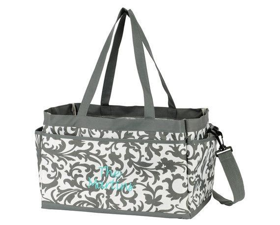 MONOGRAMMED Large Caddy Tote - Nurse Bag - Teacher Bag - Personalized Caddy - Scrapbooking -. $34.00, via Etsy.