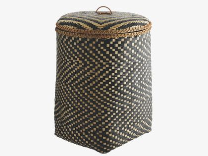 IDAHO BLACK Bamboo Bamboo laundry basket with lid - HabitatUK