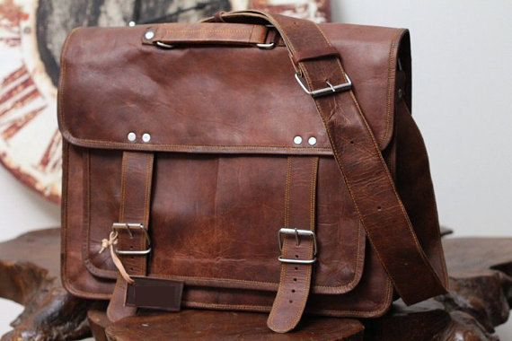 Handmade Leather Bag Messenger Shoulder Laptop Briefcase 12