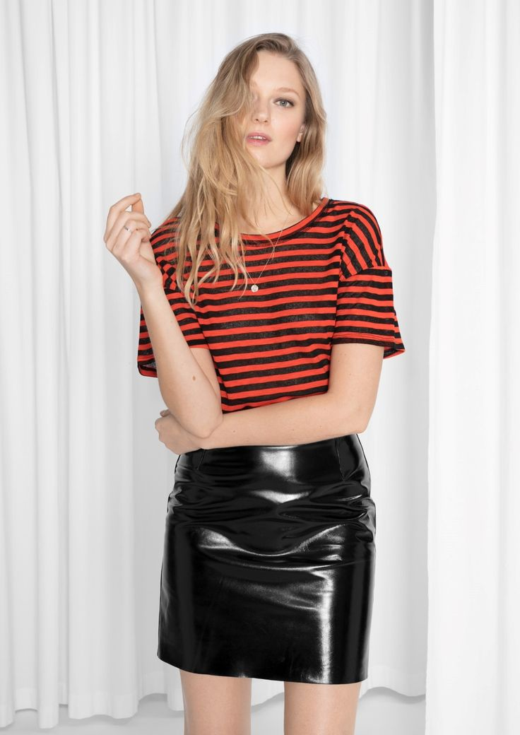 & Other Stories image 1 of Striped Shirt in Red/Black