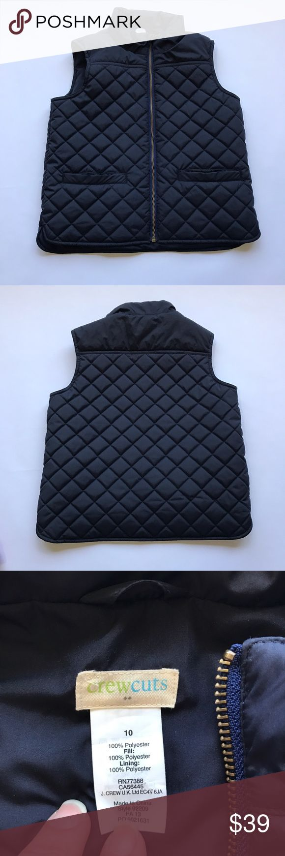 Kids J Crew Crewcuts Navy Quilted Vest size 10 Crewcuts by J Crew. Kids navy quilted full zip vest. 2 front pockets. Excellent condition, no signs of wear.  Comes from a smoke and pet free home 🏡.  Check out my other great kids clothes. You can bundle this with other items in my closet and only pay one shipping!!! Save$$$$ J. Crew Jackets & Coats Vests