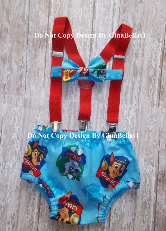 Paw Patrol Birthday cake smash outfit blue costume by GinaBellas1