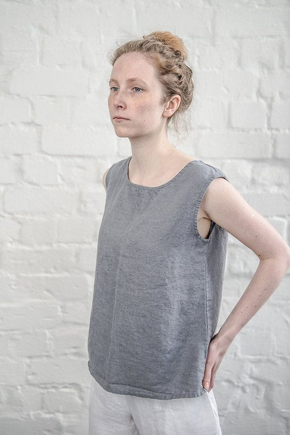 Linen blouse / linen top in dark grey/graphite/ by notPERFECTLINEN