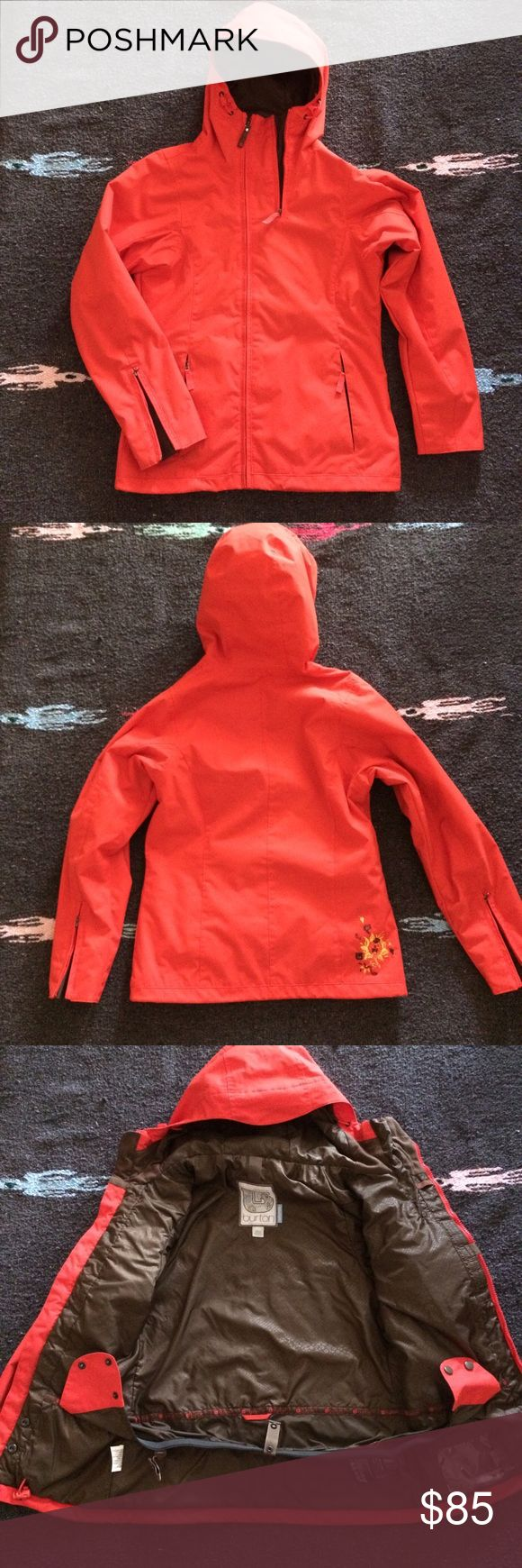 Orange Burton Ski/Snowboard Jacket - XS Women's Burton ski/snowboard jacket in tangerine color. Size XS. This is a true tactical ski jacket with pockets all over. Great condition and great quality. Burton Jackets & Coats