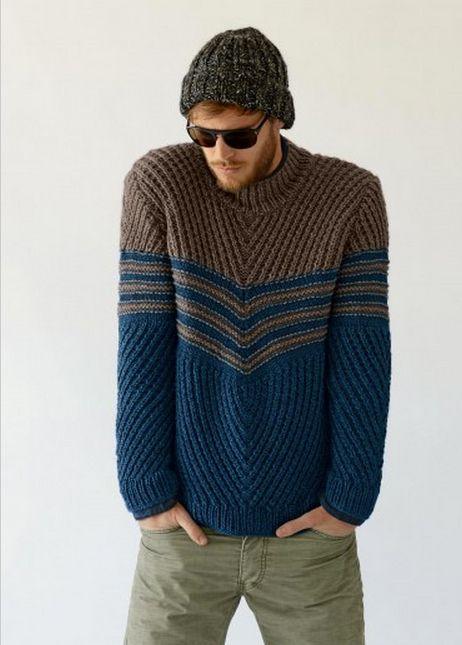 #735 Men's Sweater, Fall/Winter 13-14 (Bergere de France French knitting/crochet). Made in BDF Baltic.