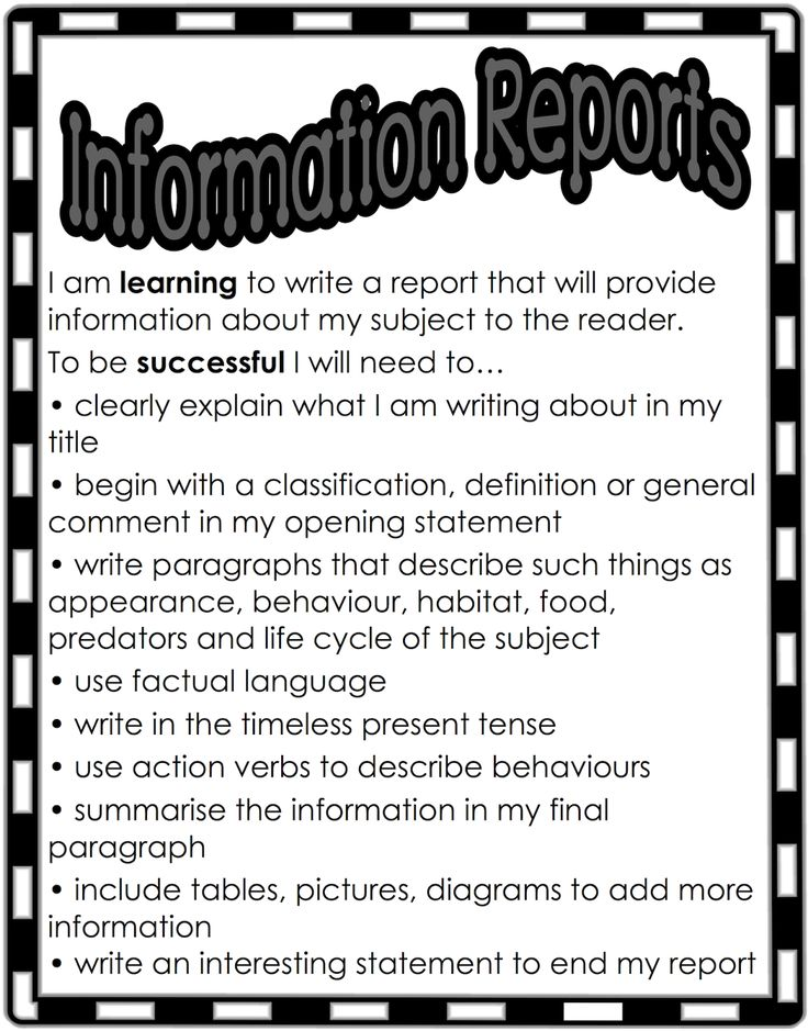 Report writing checklist for children's books. Free and printable from Classroom Treasures.