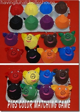 Egg Carton Pigs Color Matching- to go with Pigs Aplenty! Pigs Galore by David McPhail.