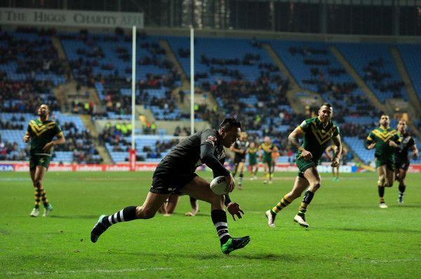 Canberra Raiders Jordan Rapana of New Zealand scores a try during the Four Nations match between the New Zealand and Australia at The Ricoh Arena on November 5, 2016 in Coventry, United Kingdom.