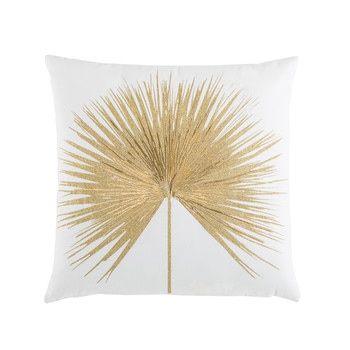 Coussin en coton blanc broderie dorée 45x45 - LEMBAR