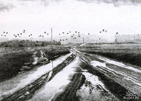 Boris Fedorovich Frantsuzov(Russian, 1940-1993)  После дождя  After the rain  1981  etching