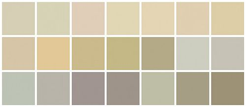 Farrow + Ball: Top row, L to R: 'Old White', 'Bone', 'Joa's White', 'Matchstick', 'Savage Ground', 'String', 'Cord' - Middle Row, L to R: 'Archive', 'Cream', 'Cat's Paw', 'Light Stone', 'Fawn', 'Pavillion Gray', 'Hardwick White' Bottom Row, L to R: 'Blue Gray', 'Elephant's Breath', 'Lamp Room Gray', 'Charleston Gray', 'French Gray', 'Smoked Trout', 'Light Gray'