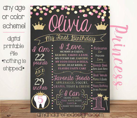 First Birthday Chalkboard Poster Pink Cream by AmandaReneDesigns