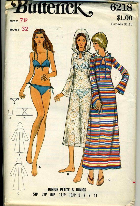 Vintage Butterick 6128 UNCUT Junior Petite Bikini by RomasMaison