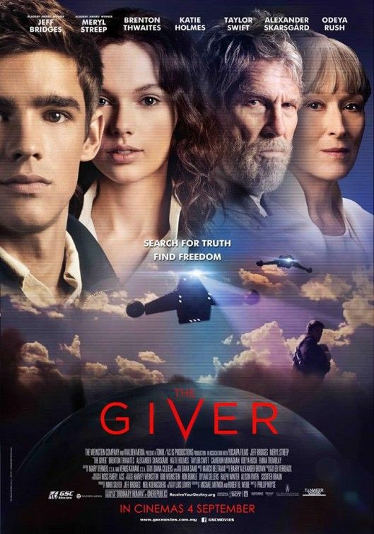 The Giver is a 2014 American social science fiction film directed by Phillip Noyce and written by Michael Mitnick and Robert B. Weide based on the 1993 novel of same name by Lois Lowry. The film stars Jeff Bridges, Meryl Streep, Brenton Thwaites, Cameron Monaghan, Odeya Rush, Alexander Skarsgård, Katie Holmes, and Taylor Swift.  http://en.wikipedia.org/wiki/The_Giver_(film)