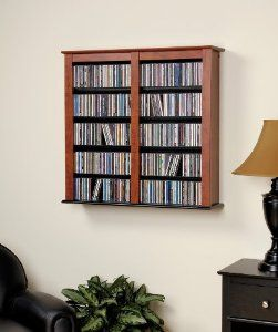 Medium Floating Wall Double Cherry by Prepac  http://www.60inchledtv.info/tvs-audio-video/television-accessories/cd-racks/medium-floating-wall-double-cherry-com/