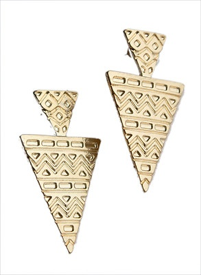 Forever 21 Shine Gold Aztec Double Triangle Earrings Ear studs new w tag   eBay