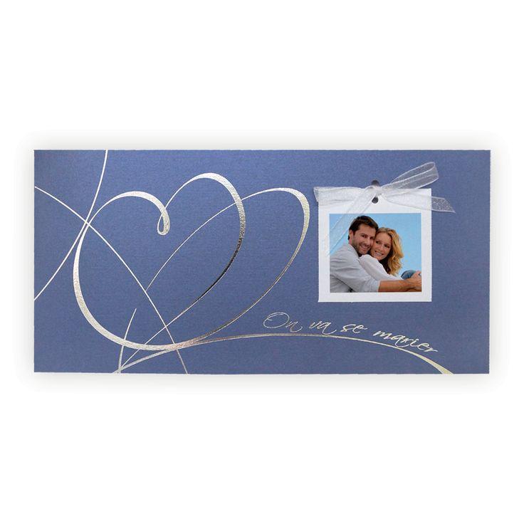 Faire part mariage creatif : Bleu saphir & coeur argent JM-3222