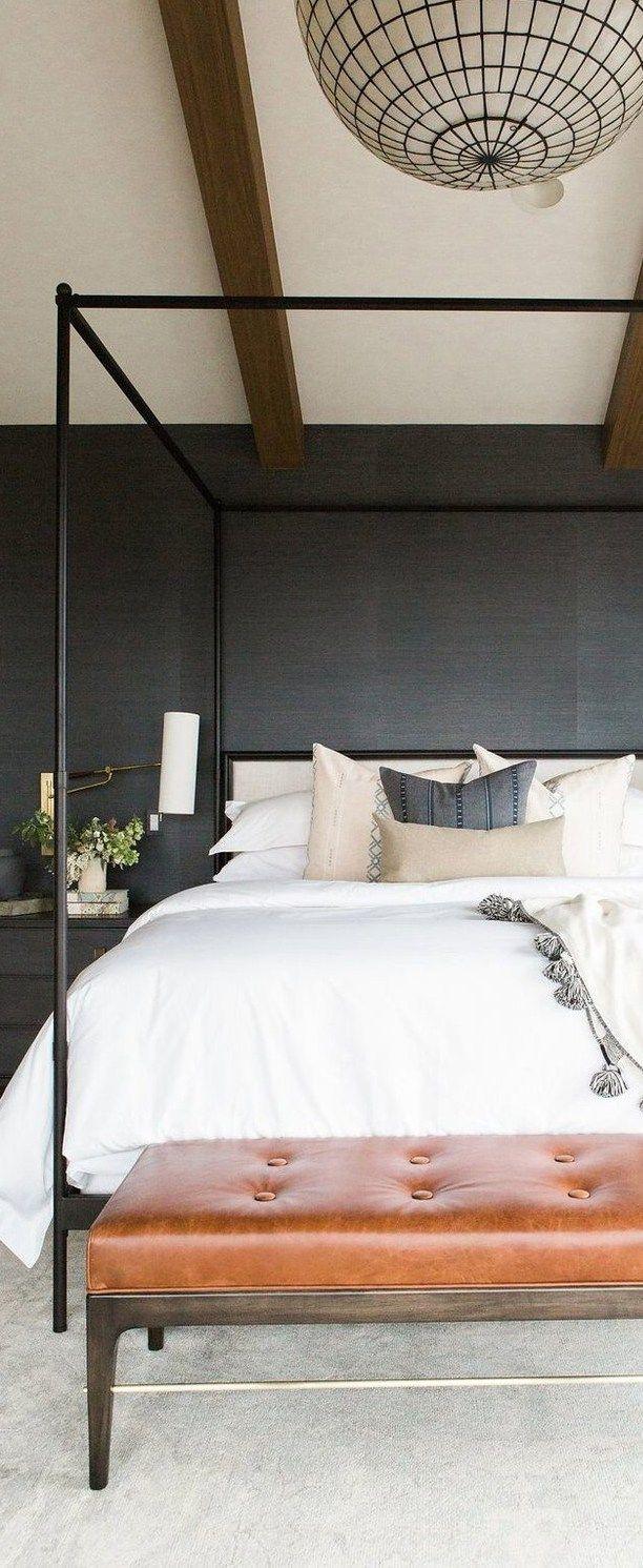 Master Bedroom with Grass Wallpaper, Statement Chandelier & Leather Bench | Studio McGee Design