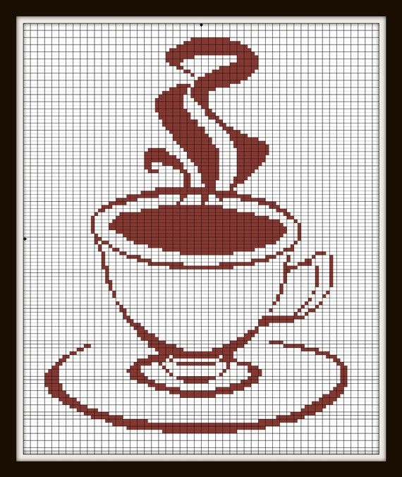 Cross Stitch Pattern tea Coffee pattern Silhouette Handmade pdf via Etsy