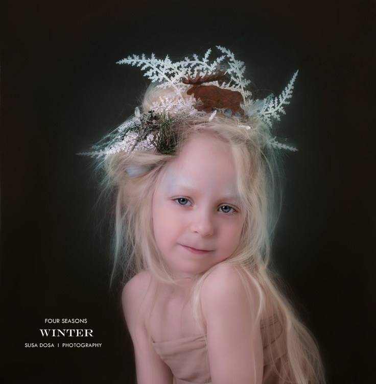 WINTER by Susa Dosa - From the series: FOUR SEASONS  Four girls (age between 5-6 ) representing the innocence and beauty of the nature