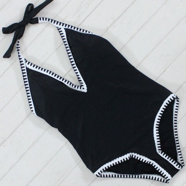 New Sexy Black and White One Piece Swimsuit Swimwear Female Women Bandeau Monokini Swimsuit One Piece Swimming Suit for Women