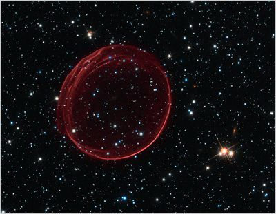 Here's the remnants of a supernova. What's crazy is that this one is 23 light-years across and expanding at 11 million miles per hour. Technically, it is SNR B0509-67.5.
