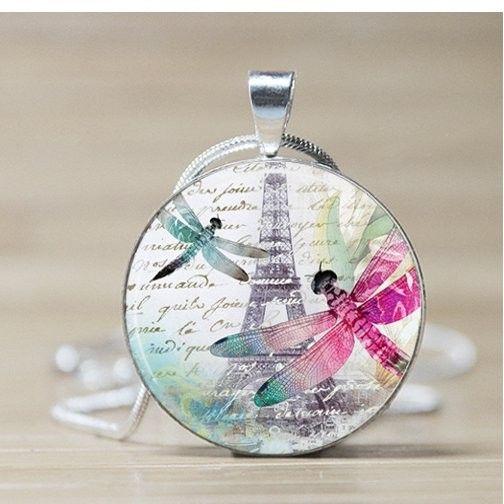 Dragonfly in Paris Glass Tile Pendant