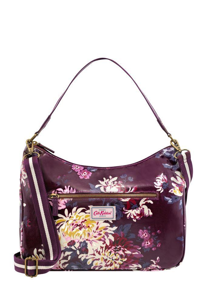 Womens Cath Kidston Purple York Flowers Curve Shoulder Bag - Purple ... 125fec268b784