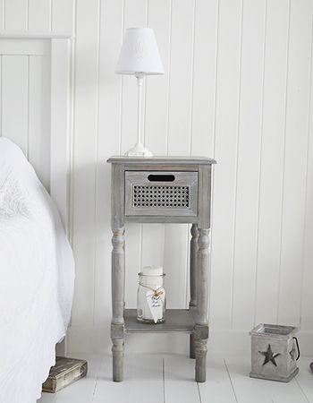 British Colonial furniture lamp bedside table with shelf and drawer. Grey bedroom furniture with fast UK delivery from the White Lighthouse